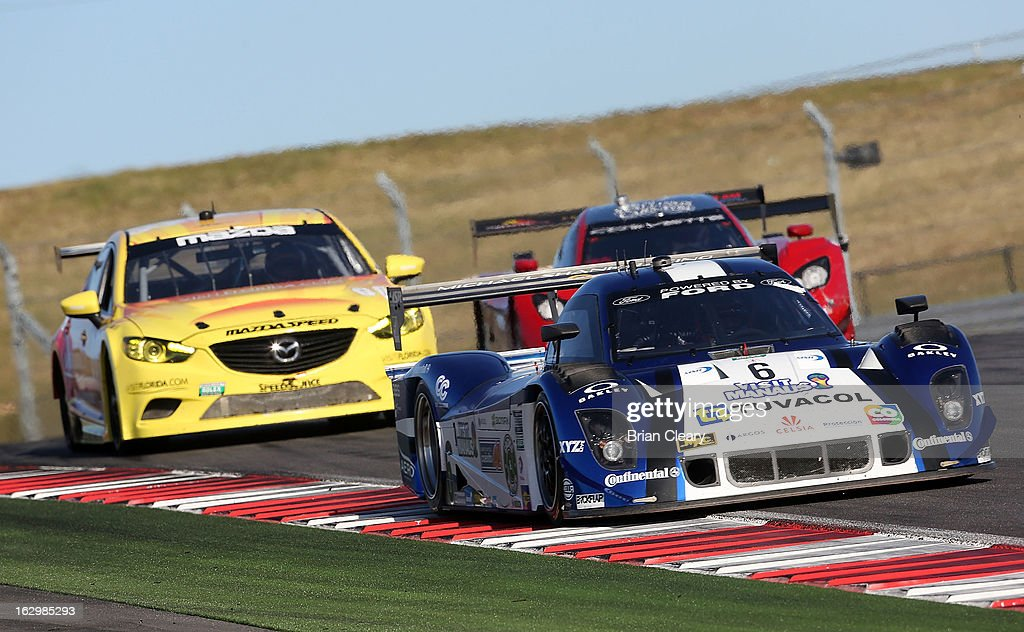 The #6 Ford Riley of Antonio Pizzonia and Gustavo Yacaman leads a line of cars at the Grand-Am of the Americas at Circuit of The Americas on March 2, 2013 in Austin, Texas.