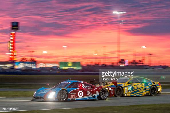 The Ford Riley of Lance Stroll Alex Wurz Brendan Hartley and Andy Piraulx races beside the BMW M6 GT3 of Michael Marsal Markus Paittala Maxime Martin...