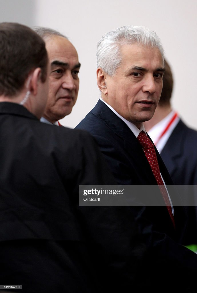 The Foreign Minister for Tajikistan Hamrokhon Zarifi arrives to attend the Afghanistan London Conference at Lancaster House on January 28 2010 in...