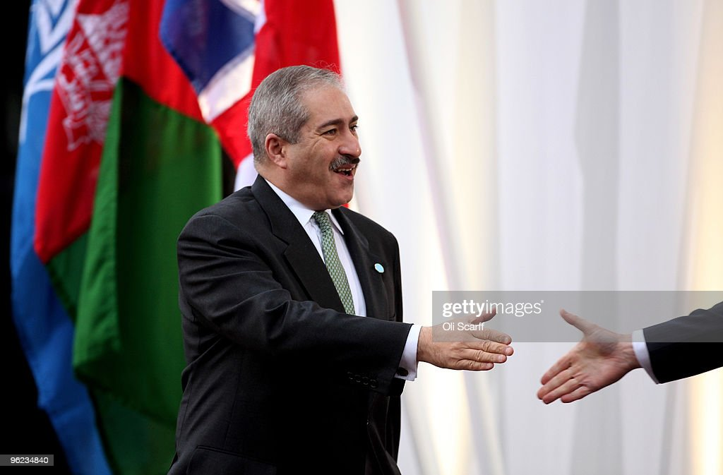 The Foreign Minister of Jordan Nasser Judeh arrives to attend the Afghanistan London Conference at Lancaster House on January 28 2010 in London...