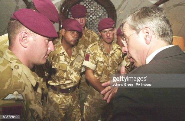 The Foreign Secretary Jack Straw talks to Lance Corporal Clegg of The First Battalion Parachute Regiment from Leigh in Lancashire as he greets...