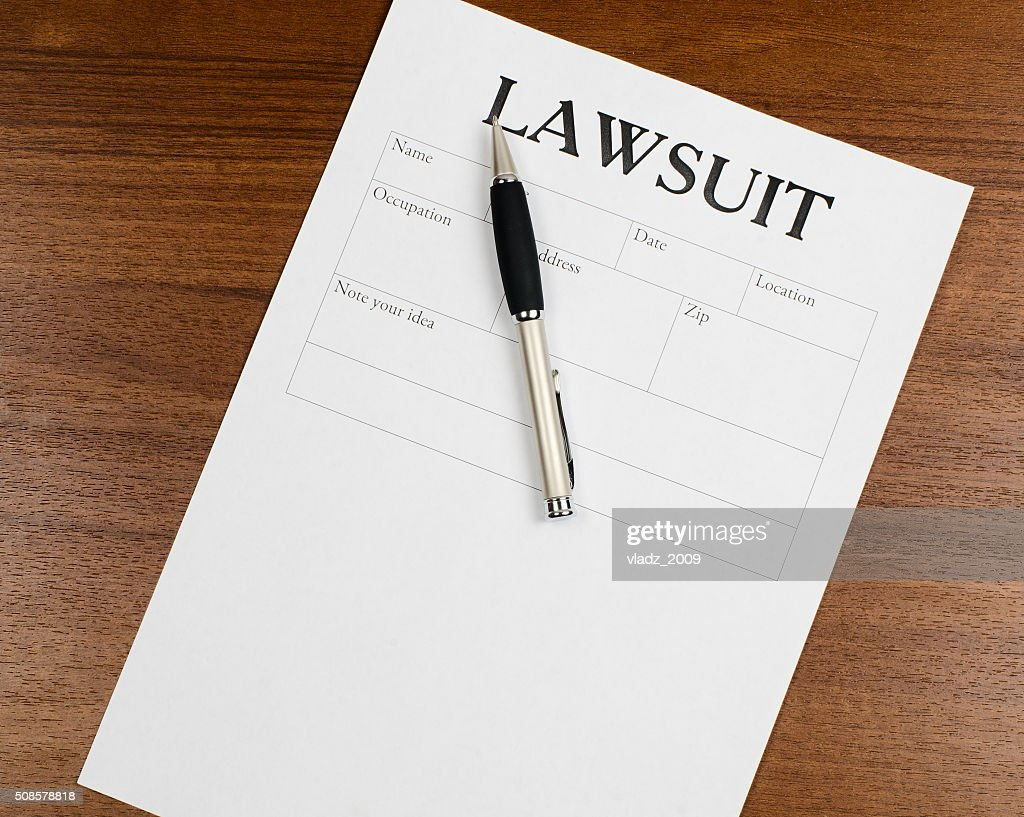 the form of the lawsuit is on the table : Stock Photo