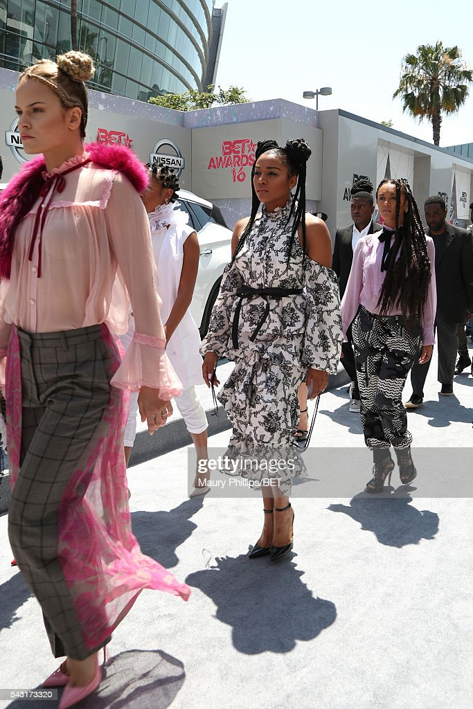 The 'Formation' music video dancers attend the Nissan red carpet during the 2016 BET Awards at the Microsoft Theater on June 26, 2016 in Los Angeles, California.