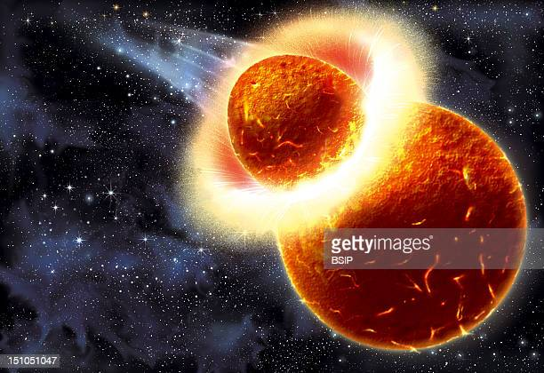 First Phase Illustration Of The Formation Of The Moon Collision Between A Projectile Most Likely A Planet In Formation And The Earth 4 5 Million...