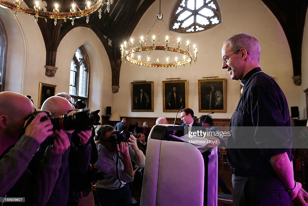 The former Bishop of Durham, the Rt Rev <a gi-track='captionPersonalityLinkClicked' href=/galleries/search?phrase=Justin+Welby&family=editorial&specificpeople=9960447 ng-click='$event.stopPropagation()'>Justin Welby</a>, poses for photographs after a press conference confirming his appointment as the Archbishop of Canterbury on November 9, 2012 in London, England. He will commence his post as the most senior figure within the Church of England in March 2013, succeeding Dr Rowan Williams.