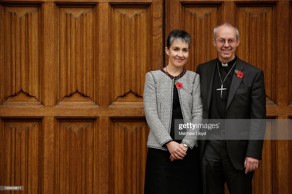 The former Bishop of Durham, the Rt Rev Justin Welby, poses for photographs with his wife Caroline after a press conference confirming his appointment as the Archbishop of Canterbury on November 9, 2012 in London, England. He will commence his post as the most senior figure within the Church of England in March 2013, succeeding Dr Rowan Williams.