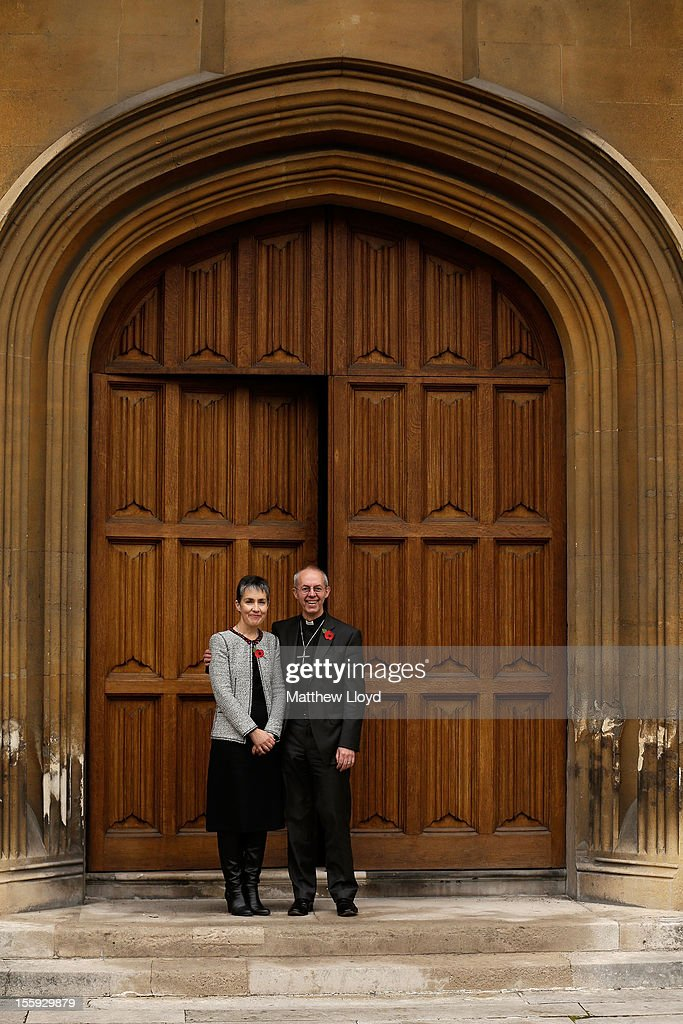 The former Bishop of Durham, the Rt Rev <a gi-track='captionPersonalityLinkClicked' href=/galleries/search?phrase=Justin+Welby&family=editorial&specificpeople=9960447 ng-click='$event.stopPropagation()'>Justin Welby</a>, poses for photographs with his wife Caroline after a press conference confirming his appointment as the Archbishop of Canterbury on November 9, 2012 in London, England. He will commence his post as the most senior figure within the Church of England in March 2013, succeeding Dr Rowan Williams.