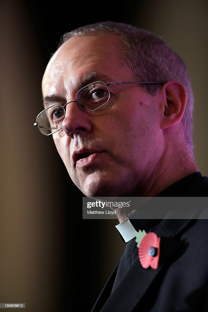 The former Bishop of Durham, the Rt Rev Justin Welby, speaks during a press conference after the confirmation of his appointment as the Archbishop of Canterbury on November 9, 2012 in London, England. He will commence his post as the most senior figure within the Church of England in March 2013, succeeding Dr Rowan Williams.