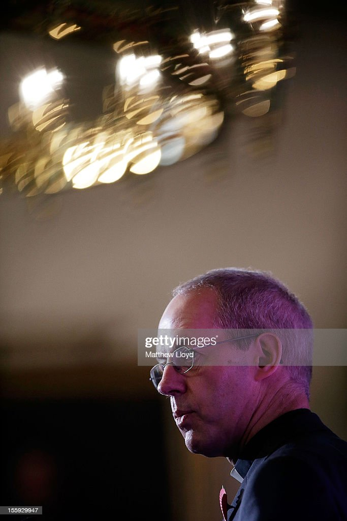 The former Bishop of Durham, the Rt Rev <a gi-track='captionPersonalityLinkClicked' href=/galleries/search?phrase=Justin+Welby&family=editorial&specificpeople=9960447 ng-click='$event.stopPropagation()'>Justin Welby</a>, speaks during a press conference after the confirmation of his appointment as the Archbishop of Canterbury on November 9, 2012 in London, England. He will commence his post as the most senior figure within the Church of England in March 2013, succeeding Dr Rowan Williams.