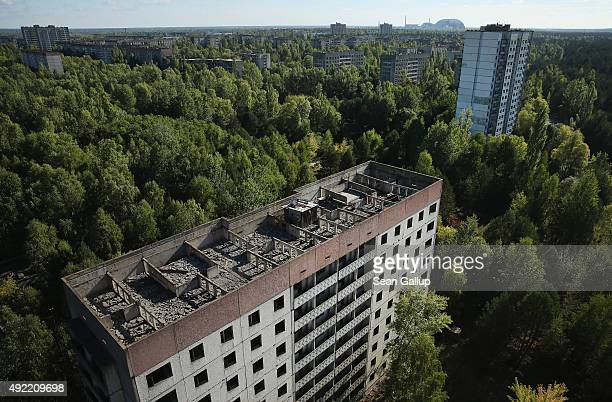 The former Chernobyl nuclear power plant including destroyed reactor four as well as the New Safe Confinement structure that will one day enclose the...