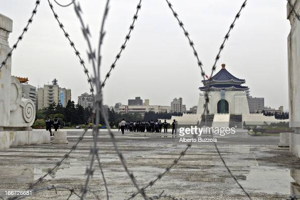 The former Chiang Kai Shek Memorial Hall main building is closed to the public and barbed wire has been deployed to keep protesters away from the...