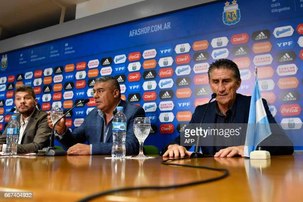 The former coach of Argentina' national football team Edgardo Bauza takes part in a press conference formalizing his dismissal alongside the...