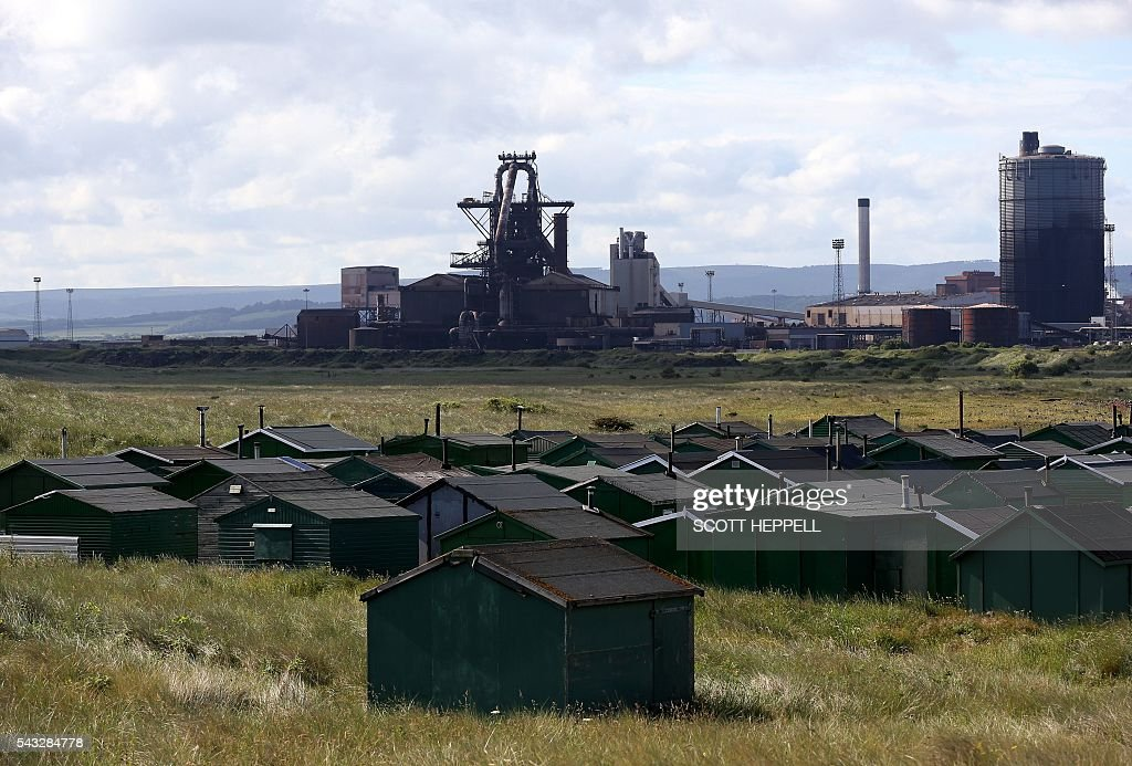 The former Corus steelworks is pictured in Redcar, north-east England on June 27, 2016. Top Brexit campaigner Boris Johnson sought Monday to build bridges with Europe and with defeated Britons who voted to remain in the EU in last week's historic referendum. Britons voted by 52 percent to 48 percent in favour of leaving the European Union in a June 23 vote that exposed deep divisions in the country and sent shockwaves through the world. / AFP / SCOTT