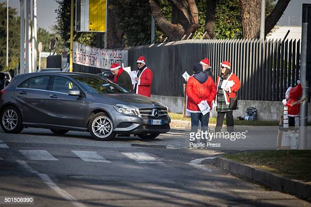 The former employee of Mercedes Benz distributing leaflets during a protest outside the Mercedes Benz factory in Rome to demand full reinstatement...