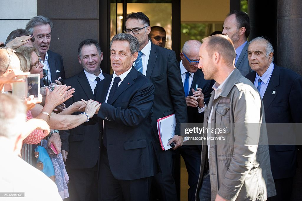 The former French President Nicolas Sarkozy leaves his new campaign headquarters on August 23 2016 in Paris France The day before Nicolas Sarkozy...