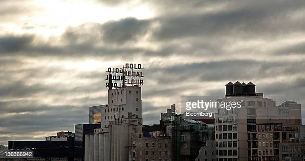 The former General Mills Inc Gold Medal Flour sign is displayed on top of an old grain elevator in Minneapolis Minnesota US on Tuesday Dec 27 2011...