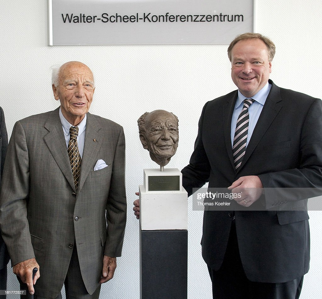 The Former German Federal President <a gi-track='captionPersonalityLinkClicked' href=/galleries/search?phrase=Walter+Scheel&family=editorial&specificpeople=234531 ng-click='$event.stopPropagation()'>Walter Scheel</a> and <a gi-track='captionPersonalityLinkClicked' href=/galleries/search?phrase=Dirk+Niebel&family=editorial&specificpeople=710721 ng-click='$event.stopPropagation()'>Dirk Niebel</a>, FDP, Federal Minister of Economic Cooperation and Development, on the occasion of the inauguration of the <a gi-track='captionPersonalityLinkClicked' href=/galleries/search?phrase=Walter+Scheel&family=editorial&specificpeople=234531 ng-click='$event.stopPropagation()'>Walter Scheel</a> conference center at the German Federal Ministry for Economic Cooperation and Development, BMZ.