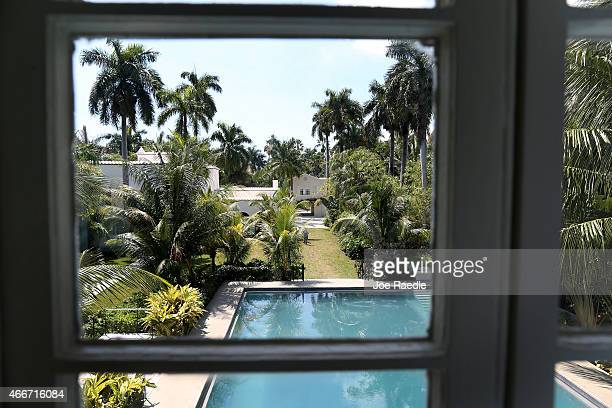 The former home of Al Capone is seen from the pool cabana during a tour of the historic house on March 18 2015 in Miami Beach Florida The home being...