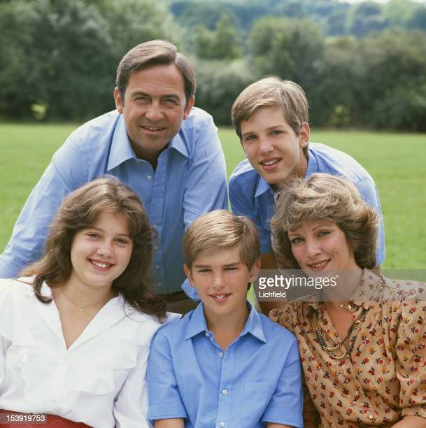 The former King Constantine II of Greece with his wife Queen AnneMarie and their children Prince Pavlos Princess Alexia and Prince Nikolaos circa...