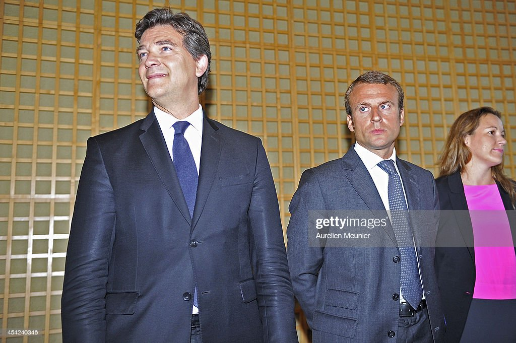 The former Minister of Finance, <a gi-track='captionPersonalityLinkClicked' href=/galleries/search?phrase=Arnaud+Montebourg&family=editorial&specificpeople=588268 ng-click='$event.stopPropagation()'>Arnaud Montebourg</a>, attends at the inaugural speech of the new Minister of Finance, <a gi-track='captionPersonalityLinkClicked' href=/galleries/search?phrase=Emmanuel+Macron&family=editorial&specificpeople=9899223 ng-click='$event.stopPropagation()'>Emmanuel Macron</a> at Ministere des Finances on August 27, 2014 in Paris, France. The speech is also considered as a handover of power between the new Minister of Finance and the former Minister of Finances.