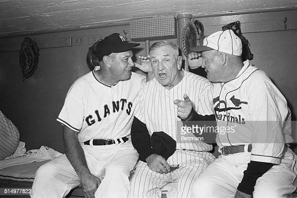 The former National League Greats Bill Terry and Roger Hornsby gave some much needed advice to New York Yankee Manager Casey Stengel here during the...