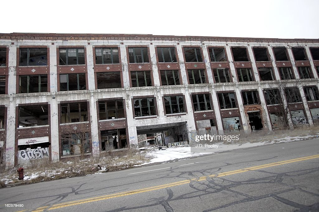 The former Packard Plant is seen on February 24, 2013 in Detroit, Michigan. The city of Detroit has faced serious economic challenges in the past decade, with a shrinking population and tax base while trying to maintain essential services. A financial review team issued a finding on February 19 identifying the city as being under a 'financial emergency.' Michigan Gov. Rick Snyder has 30 days from the report's issuance to officially declare a financial emergency, which could result in the governor appointing an emergency financial manager to oversee Detroit's municipal government.