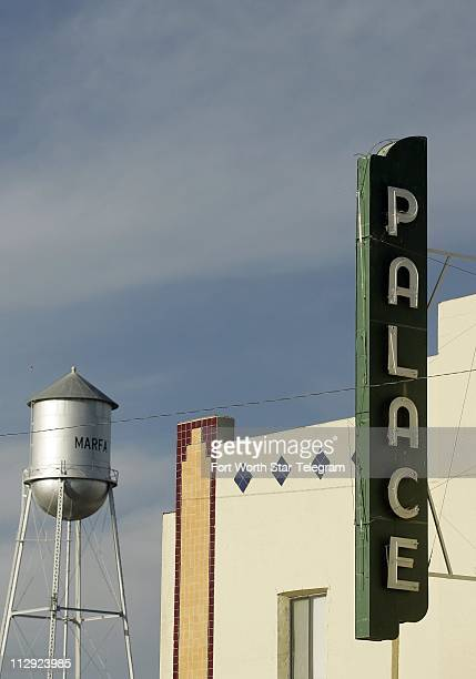 The former Palace theater in Marfa Texas sits along the square across from the courthouse and water tower