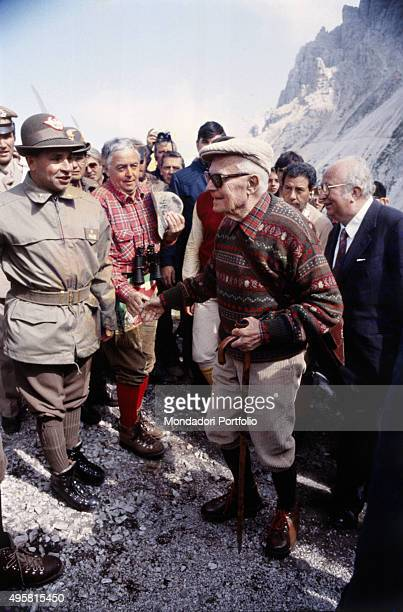 The former President of the Italian Republic Sandro Pertini along with the Minister of Defense of the Italian Republic Giovanni Spadolini greeting...