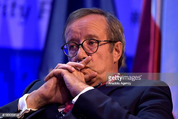 The Former President of the Republic of Estonia Toomas Hendrik Ilves attends the plenary session titled 'The future of World Leadership and the...