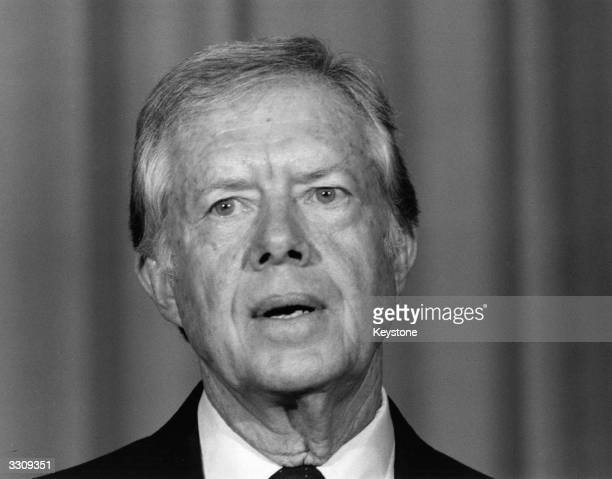 The former President of the United States Jimmy Carter speaking in London