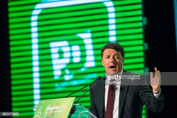 The former Prime Minister of Italy Matteo Renzi close with a programmatic speech his electoral rally in Turin Italy on 12 March 2017 in an auditorium...