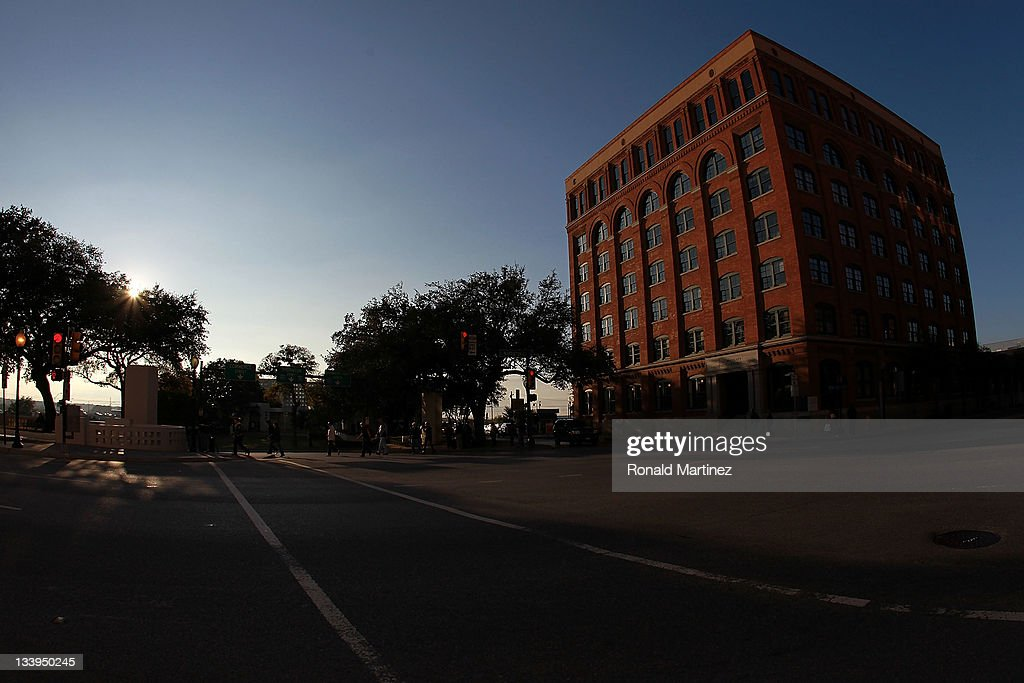 The former Texas School Book Depository, now the Dallas County Administration Building on the 48th anniversary of JFK's assassination in Dealey Plaza on November 22, 2011 in Dallas, Texas. The 48th anniversary of the assassination of U.S. President John F. Kennedy as he rode in a Presidential motorcade in Dealey Plaza, will be marked on November 22.