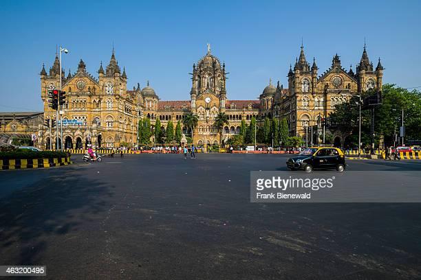 The former Victoria Terminus Railway Station now Chhatrapati Shivaji Terminus seen across the square