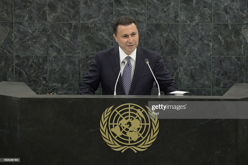 The former Yugoslav Republic of Macedonia Prime Minister <a gi-track='captionPersonalityLinkClicked' href=/galleries/search?phrase=Nikola+Gruevski&family=editorial&specificpeople=567539 ng-click='$event.stopPropagation()'>Nikola Gruevski</a> speaks during the 68th United Nations General Assembly at U.N. headquarters on September 27, 2013 in New York City. Over 120 prime ministers, presidents and monarchs are gathering this week for the annual meeting at the temporary General Assembly Hall at the U.N. headquarters while the General Assembly Building is closed for renovations.