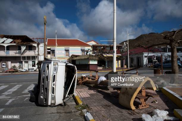 TOPSHOT The Fort Louis Marina in Marigot is seen on September 8 2017 in SaintMartin island devastated by Hurricane Irma Officials on the island of...