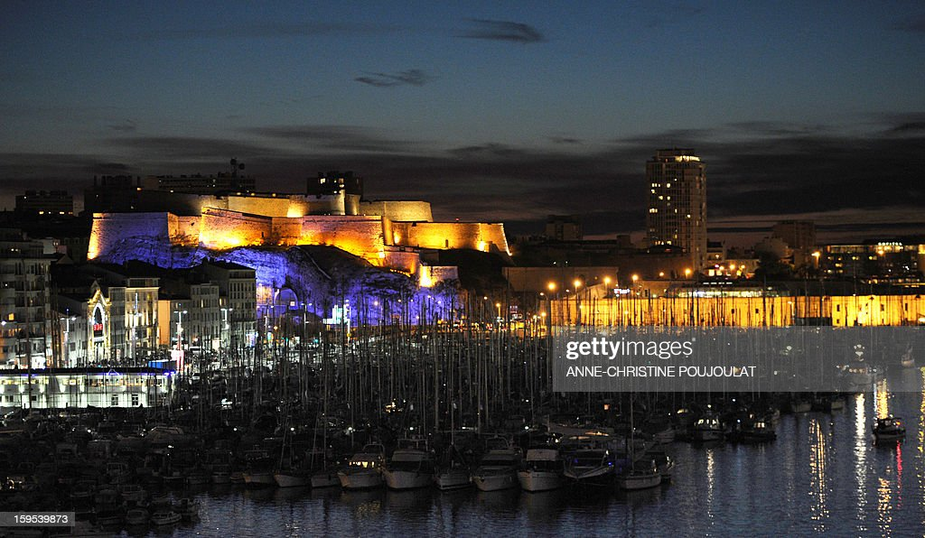 The Fort Saint-Nicholas is lighted near the Vieux-Port harbour in Marseille, southern France on January 12, 2013.
