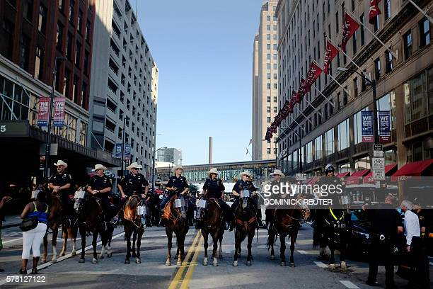 The Forth Worth Texas mounted police hold formation on Ontario Street on the third day of the Republican National Convention on July 20 in Cleveland...