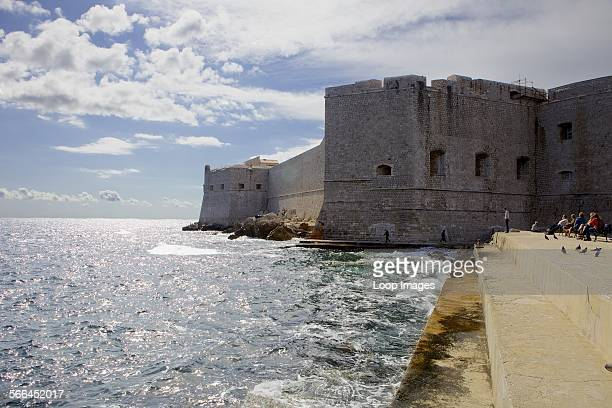 The fortified city walls of the old town of Dubrovnik