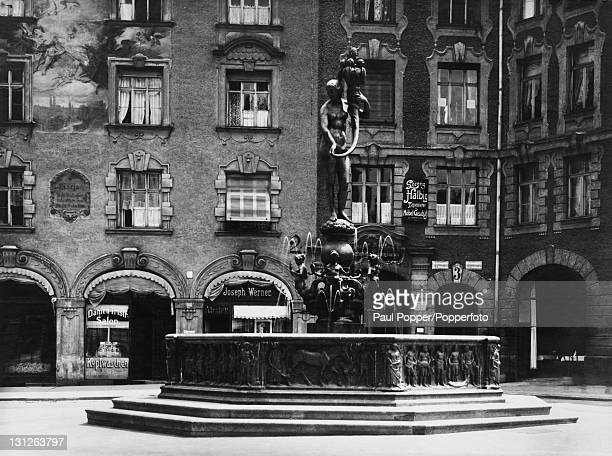 The Fortuna Brunnen a fountain outside the Isartor in Munich Germany circa 1910