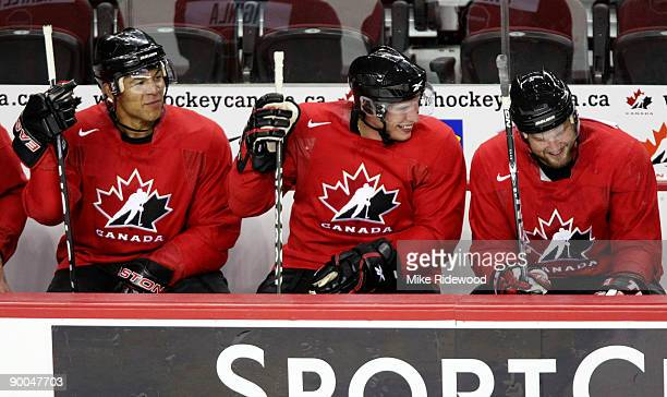 The forward line of from left Jarome Iginla Sidney Crosby and Rick Nash during the second practice of the Team Canada Olympic Orientation Camp on...