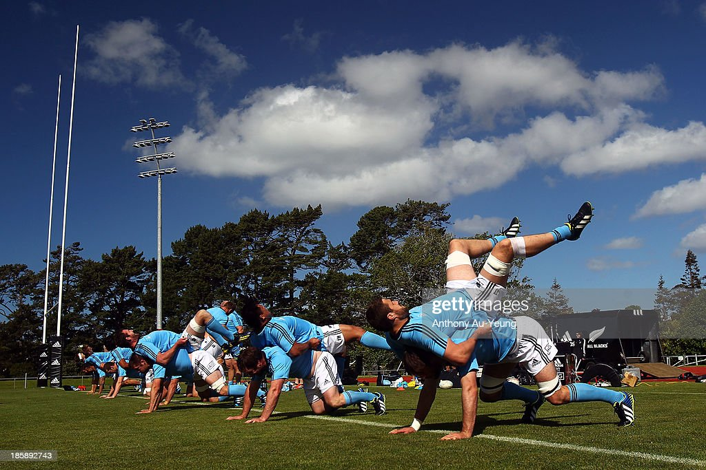The forwards practise their strength during a New Zealand All Blacks training session at Waitakere Stadium on October 26, 2013 in Auckland, New Zealand.