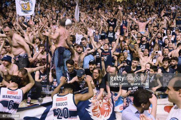 The Fossa dei Leoni supporters of Kontatto celebrates during the LegaBasket LNP of serie A2 match between Fortitudo Kontatto Bologna and Virtus...