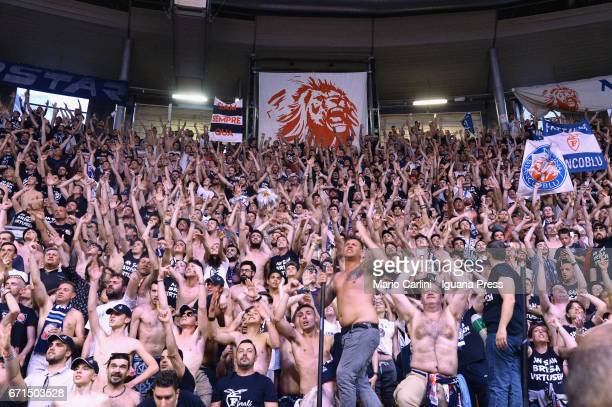 The Fossa dei Leoni supporters of Kontatto in action during the LegaBasket LNP of serie A2 match between Fortitudo Kontatto Bologna and Virtus...