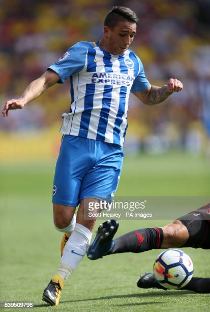 The foul by Watford's Miguel Britos on Brighton Hove Albion's Anthony Knockaert during the Premier League match at Vicarage Road Watford