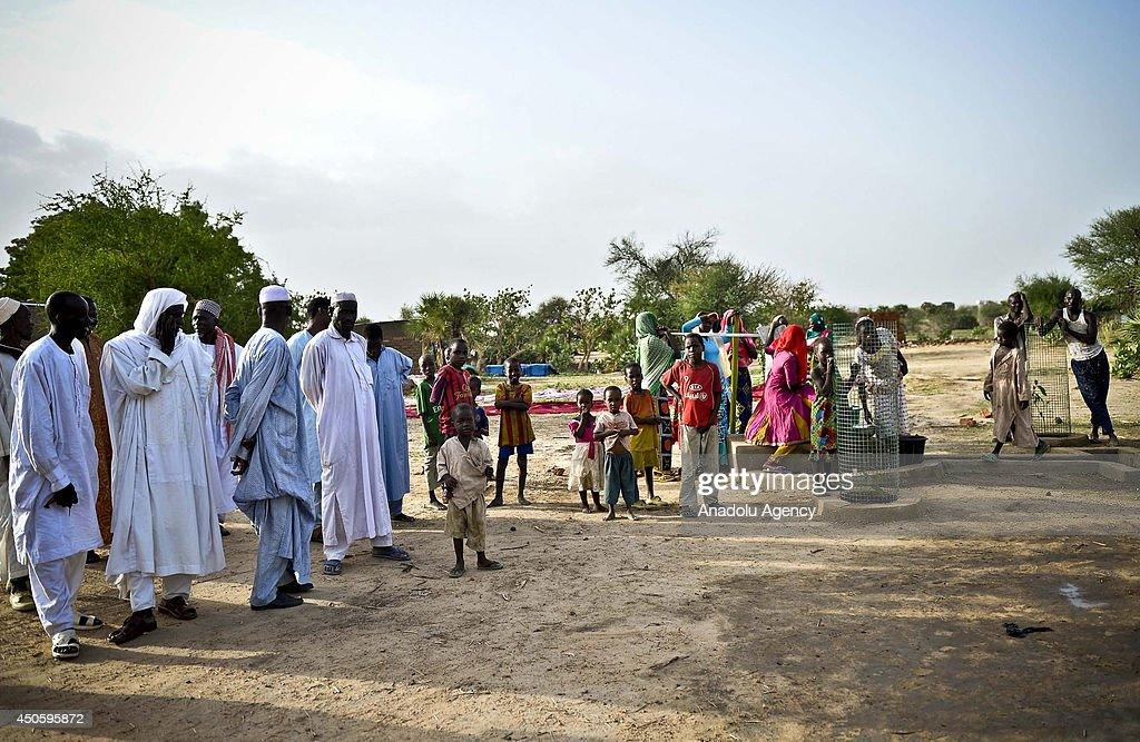 N'DJAMENA CHAD JUNE 13 The Foundation for Human Rights and Freedoms and Humanitarian Relief of Turkey put water well in use to help people who suffer...
