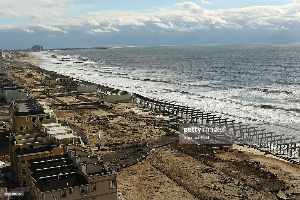 The foundations to the historic Rockaway boardwalk are all that remain after it was washed away during Hurricane Sandy on October 31 2012 in the...