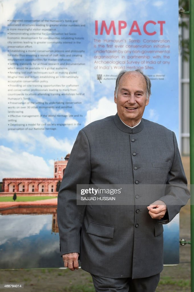 The founder and president of the Aga Khan Network for Development, Prince Aga Khan arrives for a ceremony to lay the foundation stone of the Humayun Tomb Site Museum in New Delhi on April 7, 2015. The 900 sqm museum is to be constructed at the World Heritage Site of Humayun's Tomb.