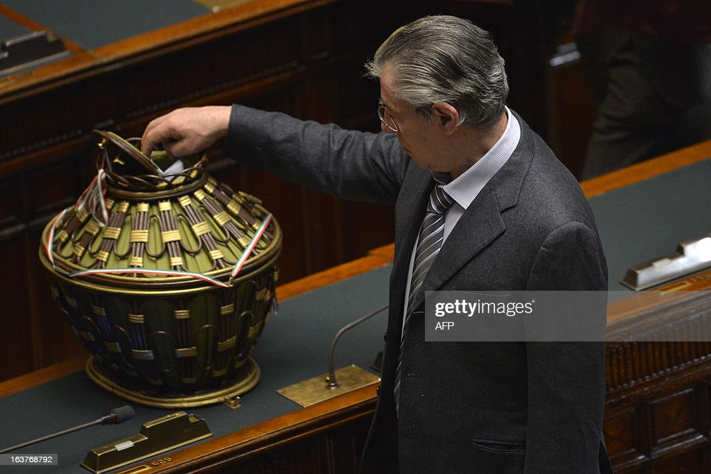 The founder of the Northern league casts his ballot during the first session of Italian lower-house on March 15, 2013 in Rome. General election in Italy took place on February 26 but as a majority in both chambers of parliament is required to form a government, Italy is left in a state of limbo with a hung parliament that is unprecedented in its post-war history.