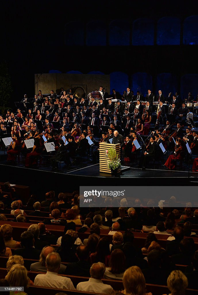 The founder of 'The System' (El Sistema) music project, Venezuelan Jose Antonio Abreu delivers the keynote speech at the opening of the Salzburg festival in Salzburg on July 26, 2013The festival runs from Jul 19 to September 1, 2013 .
