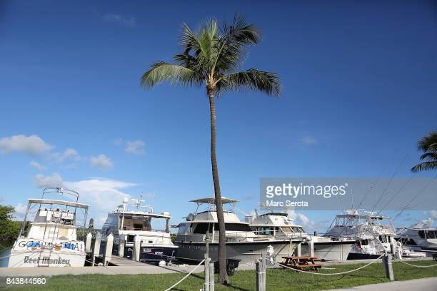 The Founders Park Marina awaits Hurricane Irma in Islamorada Florida on September 7 2017 Over 35000 people have evacuated the Florida Keys ahead of...